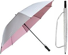 Silver UV Sun Blocking Umbrella w/ Light Pink Contrast Lining, XL 60 in. Windproof Vented Canopy, Auto Open, Includes Free Cover w/ Shoulder Carry Strap, Keeps You Cooler