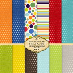 Circus colours  Digital Paper pack for by TracyAnnDigitalArt, $5.00