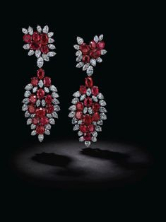 Magnificent ruby and diamond earrings, Jacques Timey, attributed to Harry Winston - Alain. Ruby Earrings, Diamond Hoop Earrings, Rare Gemstones, Minerals And Gemstones, Harry Winston, Engagement Ring Cuts, Indian Jewelry, Gemstone Jewelry, Diamond Cuts