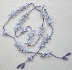 Items similar to Gray Lace Flower - Embroidery Flower Crochet Lariat/Headband/Belt on EtsyThread crochet flower garland More - Salvabrani Knitted Necklace, Lariat Necklace, Diy Crochet And Knitting, Thread Crochet, Crochet Flower Patterns, Crochet Flowers, Collar Diy, Crochet Christmas Ornaments, Crochet Bracelet