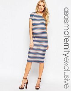 ASOS Maternity Midi Bodycon Dress in Variegated Stripe