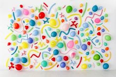 Acrylic balloon art installation to add a pop of color in the office and tie in the lobby party motif. Balloon Backdrop, Diy Backdrop, Balloon Wall, Balloon Decorations, Birthday Decorations, Balloons, Backdrop Photobooth, Photo Backdrops, Party Animals