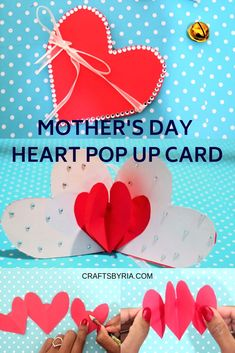 Easy Mother's day crafts idea for kids. DIY heart pop up card for Valentine's day/Mother's day. This is an easy paper craft idea for both adults and kids! Mother's day craft idea for kindergarteners, elementary school, school age kids, teens, tweens. Easy Mother's Day Crafts, Mothers Day Crafts For Kids, Easy Arts And Crafts, Easy Paper Crafts, Mothers Day Presents, Fathers Day Crafts, Diy Crafts For Kids, Gifts For Kids, Kids Diy