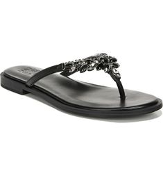 Free shipping and returns on Naturalizer True Colors Fallyn Crystal Embellished Sandal (Women) at Nordstrom.com. Faceted crystals bring arresting sparkle to the thong strap of an otherwise minimalist sandal made with Contour+ cushioning technology for all-day comfort. This style comes in a variety of colors designed to complement a range of skin tones. Flip Flop Shoes, Flip Flops, Rhinestone Bow, Evening Sandals, Embellished Sandals, Pump Shoes, Black Sandals, Fashion Rings, Contour