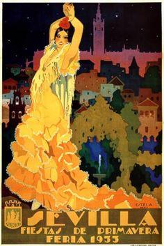 1933 SEVILLA FIESTAS DE PRIMAVERA SPRING FLOWERS EUROPE TRAVEL TOURISM SPAIN VINTAGE POSTER REPRO