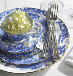 Blue Aves Dinnerware from Royal Crown Derby. And why isn't this pattern in my china cabinet. I have always loved this one!