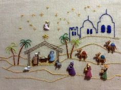 Ideas embroidery patterns love quilts for 2019 Christmas Nativity Scene, Christmas Cross, Christmas Diy, Christmas Ornaments, Christmas Embroidery Patterns, Hand Embroidery, Embroidery Designs, Christmas Projects, Holiday Crafts