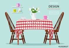Modern Graphic Vector Concept Of Dining Table With Chairs Cups And Flowers