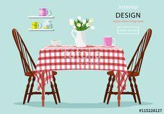 ベクター: Modern graphic vector concept of dining table with chairs, cups and flowers. Kitchen and cafe interior design. Flat style vector illustration. Table with red and white checked cloth.点