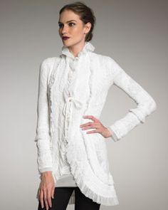Jean Paul Gaultier Exclusive Lace Ruffle Cardigan, Cream  #www.frenchriviera.com
