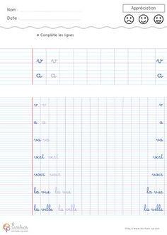 Feuille Fiche PDF Exercice d'écriture cursive cp à imprimer