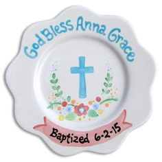 Baptism Personalized Scalloped Plate (Available in Pink & Blue) :: For That Occasion