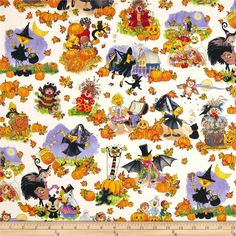 Suzy's Zoo Pumpkin Patch Character Scenic Halloween from @fabricdotcom  Designed by Suzy Spafford for Hoffman California International Fabrics, this cotton print is perfect for quilting, apparel and home decor accents.  Colors include white, black, brown, tan, green, yellow, orange, red, purple and blue.