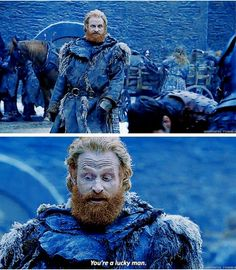 Tormund is speaking to Podrick, who is faring poorly in a sparring match with Brienne. Game Og Thrones, Game Of Thrones Theories, Game Of Thrones Books, Game Of Thrones Quotes, Game Of Thrones Funny, Got Dragons, Mother Of Dragons, Winter Is Here, Winter Is Coming
