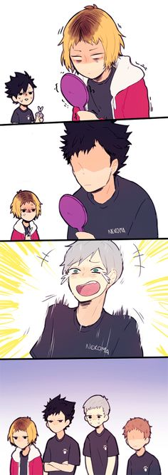 When Kenma has a bad hair cut because of Kuro and you want to make fun of it , you probably would end up like Lev :P - Haikyuu!! Nekoma . Kuro , Kenma , Lev, Yaku