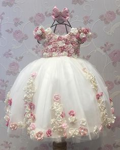 Cheap girls dress, Buy Quality little girls dresses directly from China dress for Suppliers: Flower Girl Dresses Ball Gown Pearls Flower Short Sleeve O Neck Long Wedding Pageant First Communion Dresses for Little Girls Frocks For Girls, Kids Frocks, Dresses Kids Girl, Little Girl Dresses, Cute Dresses, Kids Outfits, Party Dresses, Fashion Kids, Baby Girl Fashion
