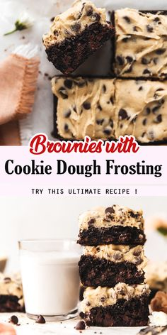 Brownies with cookie dough frosting desserts dessertrecipes desserttable dessertfoodrecipes no bake banana cream cheesecake Cookie Dough Frosting, Cookie Dough Brownies, Cookie Dough Recipes, Brownie Recipes, Baking Recipes, Cookie Dough Cupcakes, Gooey Brownies, Bar Cookies, Best Dessert Recipes