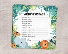 Jungle Baby Shower Invitation Pack for Safari Baby Shower Boy with Elephant Lion Giraffe Zebra Baby Shower Wishes, Baby Shower Bingo, Baby Shower Activities, Boho Baby Shower, Baby Shower Invitations, Shower Party, Wishes For Baby Cards, Birthday Cards For Boys, Printable Cards