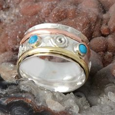 925 STERLING SILVER PAPULAR TURQUOISE RING 6.80g DJR9857 SZ-7 #Handmade #Ring
