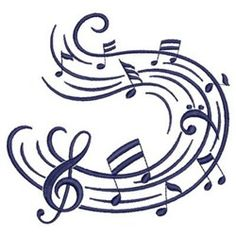 Music Notes Whirl embroidery design