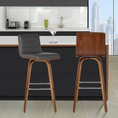 Armen Living Vienna Swivel Bar Stool with Cushion; Counter Height Bar, Counter Bar Stools, Kitchen Stools, Swivel Bar Stools, Bar Chairs, Room Chairs, Island Chairs, Dining Chairs, Office Chairs