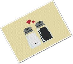 Just have to find the perfect hand towel colour that will goes with it     Perfect Pairings - Kawaii Salt and Pepper - PDF Cross-stitch Pattern. $3,00, via Etsy.