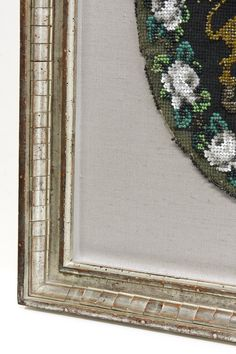 England's Royal Family Antique Beaded Crest.  The depth of the textile and beading required a shallow shadowbox as part of the design. The textile was carefully sewn to the fabric behind it. The silver leaf frame has a stepped cassette pattern. Framed to conservation standards with archival materials. Double Glass, This Is Us Quotes, Frame It, Antique Prints, Online Gallery, Shallow, Shadow Box, Custom Framing, Conservation