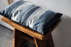 Unique Pillow / Cushion / Pillowcover Strips made from Vintage, Old and Worn Jeans 30 x 50 cm - 12 x 20 inch - Vintage Stripes 7. €24.50, via Etsy.