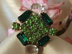 Vintage rhinestone ring, Green Baguette Rhinestone Crystal Ring, Rhinestone Fashion ring, Gift for Her, Estate jewelry, Christmas Jewelry by MeAndMoma on Etsy