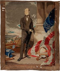 Political:3D & Other Display (pre-1896), Henry Clay: Berlin Wool Work Needlepoint Portrait....