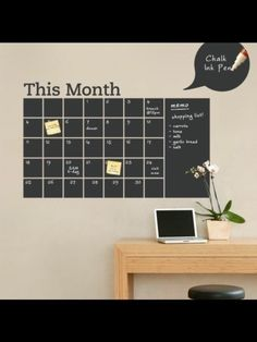 Stay organized with the help of this chalkboard wall calendar. This calendar wall decal incorporates a black chalkboard vinyl that you can write on and erase. This calendar design also includes an extra & area on the side. Chalkboard Markers, Chalkboard Vinyl, Blackboard Wall, Black Chalkboard, Chalk Markers, Chalkboard Ideas, Calendar Wall, Chalkboard Wall Calendars, Calendar Design