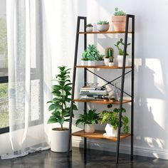 Bookcase, Bookshelf Organizer with Resistant Black Metal Frame and Sturdy Multifunctional Antique Wood Design Shelving Unit Perfect for Holding Books, Plants, Ornaments, and Other Items Ladder Shelf Decor, Ladder Bookshelf, Bookshelf Storage, Storage Rack, Bookshelf Living Room, Leaning Bookshelf, Ladder Storage, Black Ladder Shelf, Shelf Ideas For Living Room