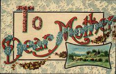 DEAR MOTHER Flower Floral Greetings c1910 Postcard