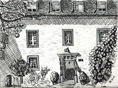 #180 Binnen in het woonhuis van de boerderij hing een tekening van de plaats uit 1940. Getekend door een soldaat die daar was gestationeerd. Sinds kort hangt er nu ook eentje uit 2015. Door ondergetekende.