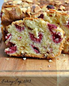 Raspberry and white chocolate almond cake