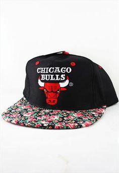 20d1518caef Custom Vintage Chicago Bulls Floral Snapback Hat Cap