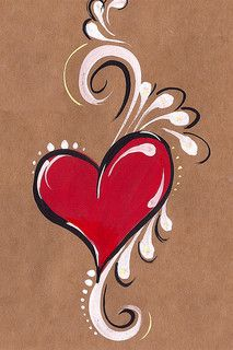 heart painted on brown paper - idea for glass painting Heart Painting, Tole Painting, Belly Painting, Diy Painting, Face Painting Designs, Paint Designs, Painting Tutorials, Art Sur Toile, Rock Art