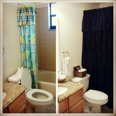 I took things around the house I no longer use to make my guest bathroom easier to look at and less embarrassing! I used my old window curtains as my new shower curtain with a liner behind them, I also found an old basket to hold spare toilet paper, and a bowl to fill with pretty shells I had stored away. This little makeover cost $0! Use your imagination! :) #diy #makeover #nomoneynoproblems #simplefix #beforeandafter