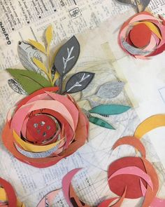 Sarah Milne is an Utah based abstract collage artist using old books and ephemera to make fine art for homes and businesses. Collage Kunst, Paper Collage Art, Cut Paper Art, Paper Flower Art, Torn Paper, Art Fil, Mixed Media Collage, Kids Collage, Art Plastique