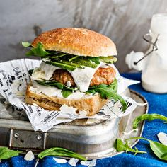 Caesar-burger | K-Ruoka Salmon Burgers, Wine Recipes, Sandwiches, Koti, Chicken, Ethnic Recipes, Paninis, Cubs