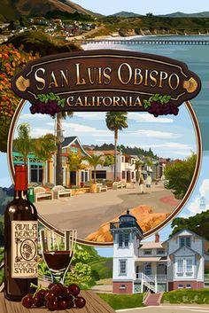 San Luis Obispo, California - Montage - Lantern Press Poster