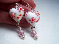 Heart Red Mauve Pink White Glass Lampwork Valentine Earrings Doodaba White Earrings, Glass Earrings, Etsy Earrings, Dangle Earrings, Mauve, Pink White, Heart, Products, Beauty Products