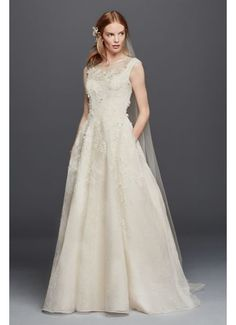 Oleg Cassini Lace Wedding Dress with Pockets 4XLCWG730