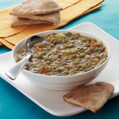 Greek Lentil Soup with Toasted Pita - 30 Quick-and-Easy Fat-Burning Recipes - Health Mobile fat burning soup Pita Recipes, Greek Recipes, Soup Recipes, Cooking Recipes, Healthy Recipes, Easy Recipes, Winter Soups, Vegetarian Soup, Mediterranean Diet Recipes