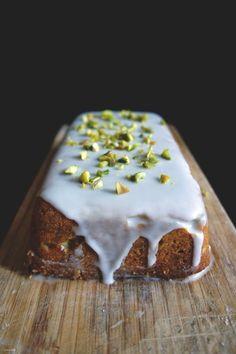 Lemon-Pistachio Polenta Cake with Lemon Icing | Thom & Aimee via @Jacqueline Rousseau