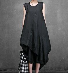 avant-garde linen sleeveless unbalanced hemline lagenlook long sundress #Handmade