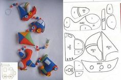 sailboat kite car and train airplane felt garland baby pattern design sewing craft stuffed toy Felt Crafts, Diy And Crafts, Arts And Crafts, Felt Garland, Felt Ornaments, Felt Patterns, Stuffed Toys Patterns, Sewing Toys, Sewing Crafts