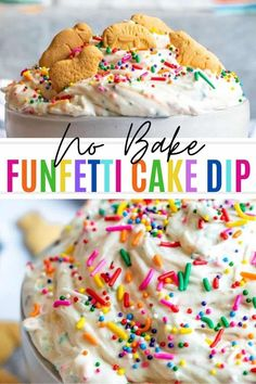 This Funfetti Cake Batter Dip is quick and easy to make and perfect for both kids and adults. This copycat Dunkaroo Dip is a must at holidays and birthday parties and requires no baking. Pair with animal crackers, Teddy Grahams, Oreo's or strawberries for the perfect pairing to this dessert dip. Dessert Dips, Best Dessert Recipes, Dip Recipes, No Bake Desserts, Delicious Desserts, Recipies, Cake Batter Dip, Cake Dip, Dunkaroo Dip