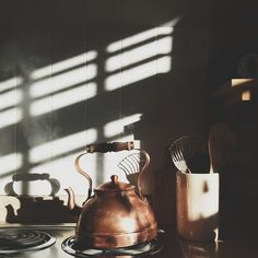She made water for her tea everyday of her life in an old copper kettle. Nanu Nana, Morning Light, Morning Mood, Morning Breakfast, Slow Living, Light And Shadow, Coffee Break, Decoration, Modern Retro