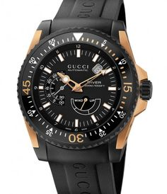 Gucci Diver XL Automatic Black / Pink Gold & Black PVD Mens Watch